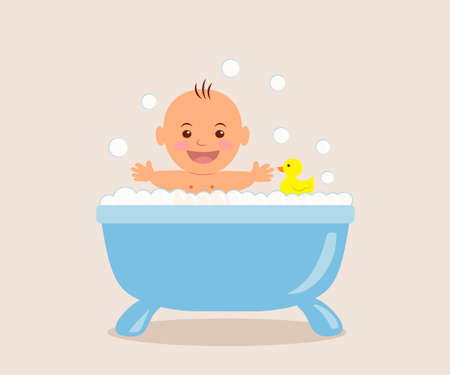 Baby bathing in the bath with foam. Illustration