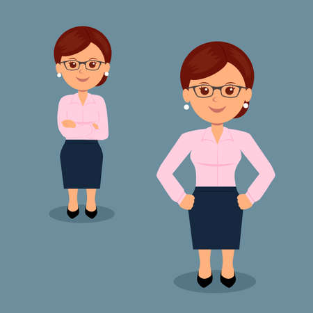 display problem: Set of business woman standing in various action. Character female manager in the flat design. Teacher. Illustration