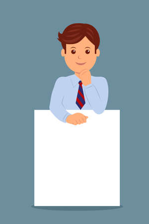 men: Businessman and blank white banner. Character male manager in the flat design. Illustration