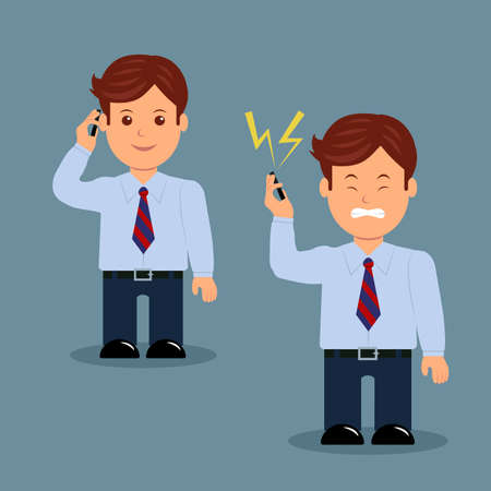 benevolent: Set of businessman with phone in various action. Character male manager benevolent and angry.