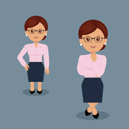Set of business woman standing in various action. Character female manager in the flat design. Teacher. Illustration