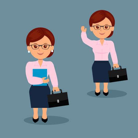 brandish: Set businesswoman with briefcase in a variety of activities. The character of a female in a flat design.