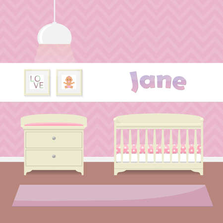 carpet floor: Design a childs room in pink for girls. Crib, swaddle table and framed pictures. Flat style vector illustration.