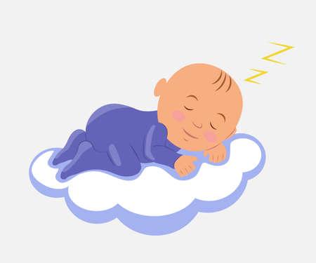 Baby Sleeping on Cloud. Isolated vector illustration.