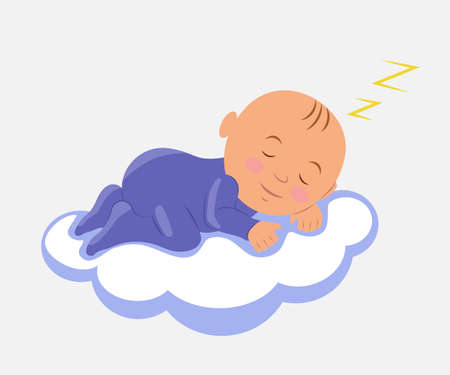 laying little: Baby Sleeping on Cloud. Isolated vector illustration.