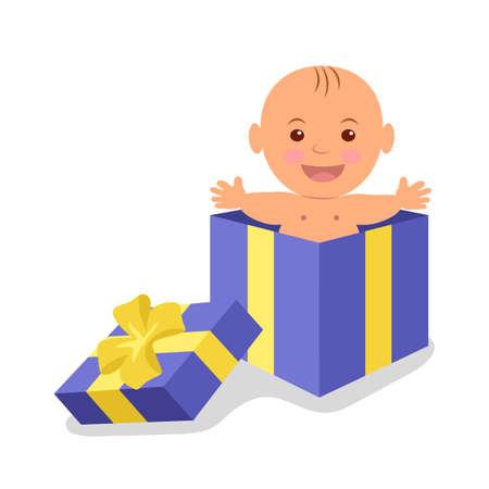 Nettes Baby in einem Geschenkkarton. Das kostbare Geschenk des Lebens.