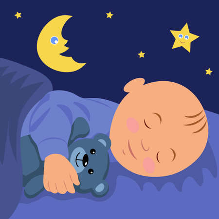 The baby is asleep hugging teddy bear. Vector illustration of a baby sleep.