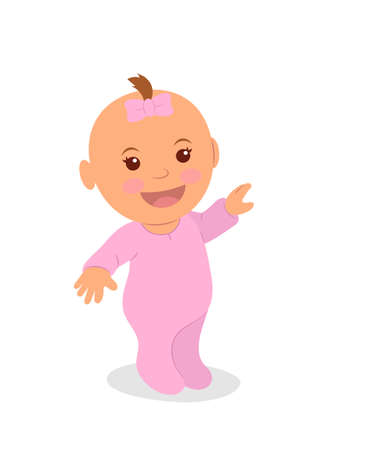 Cute little girl in pink pointing her finger. The newborn girl is isolated on a white background.