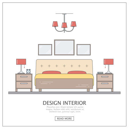 headboard: Design interior bedroom. Modern furniture with thin line. Concept for website or infographic outline.