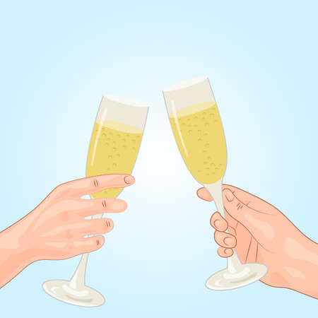 clinking: Toast, champagne, human hand. Festive background. Vector illustration.