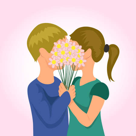 cuddle: Valentines Day. Young couple hugging and kissing behind a bouquet of flowers.