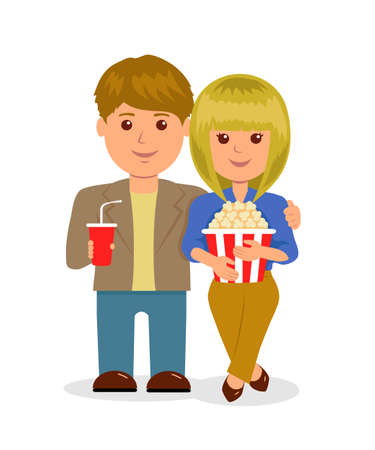 teenagers love: Young couple in cinema. Isolated characters, men and women with popcorn and a drink.
