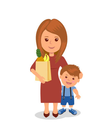 white dress: Mother and child shopping. Concept infographics proper nutrition.