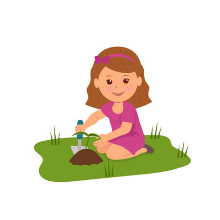 Cute girl planting flowers. Illustration of Ecology and Environmental Protection.