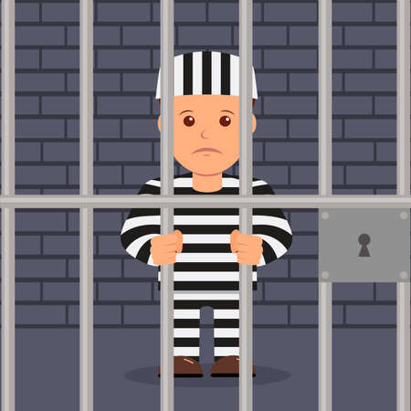 Male prisoner in cartoon style. 矢量图像