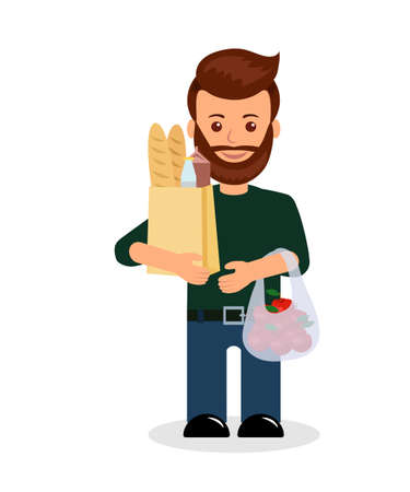 grocery shopper: Male with shopping. Isolated character of a man with a bag of groceries.