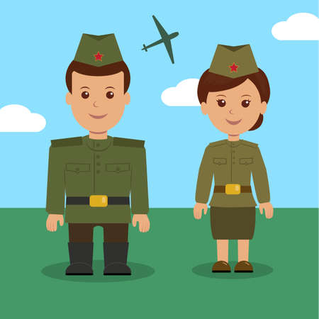 army girl: Man and woman in uniform of the Russian military. Characters military for background on 23 February.