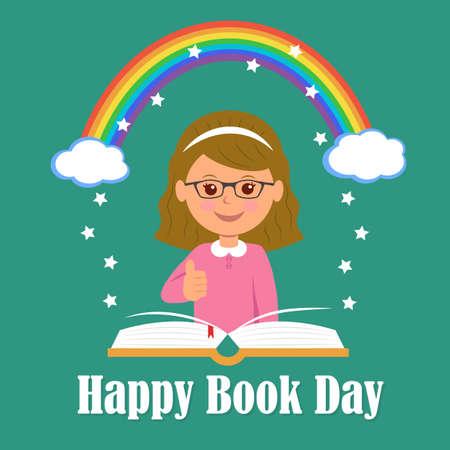 persona leyendo: Feliz Día del Libro. El concepto de fondo de la magia de la lectura. Vectores