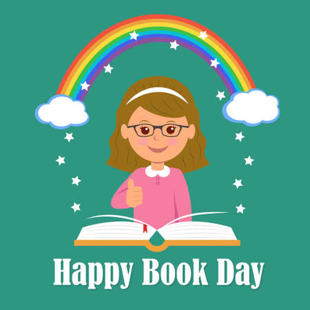 kids reading: Happy Book Day. The concept of background magic of reading. Illustration