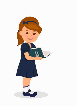 Cute little girl in a dark blue dress reading a book. Isolated character child standing with a book. World book day.