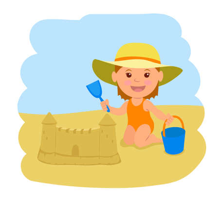 A little girl builds a sand castle. illustration of summer vacation at sea. 矢量图像