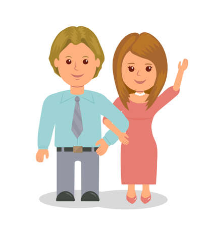 waved: Young married couple standing in embrace. Girl waved her hand affably. people isolated on a white background.