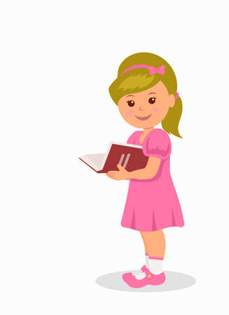 schooler: Cute little girl in a pink dress reading a book. Isolated character child standing with a book. Illustration