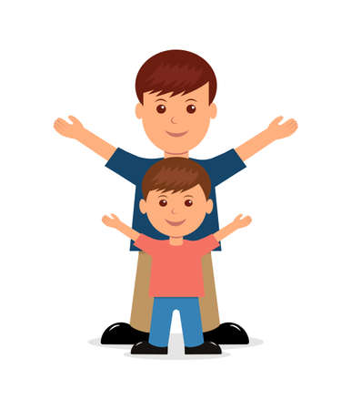 Father and son. Isolated people in a flat style. Ilustração