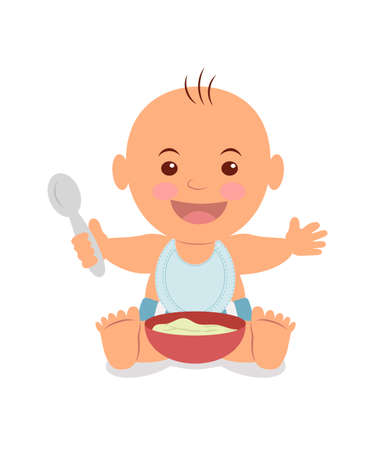 Boy with a bowl of porridge and holding a spoon  イラスト・ベクター素材