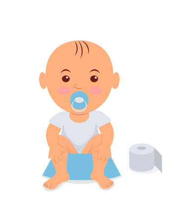 Baby boy sitting on the potty. Learning to pee. 矢量图像