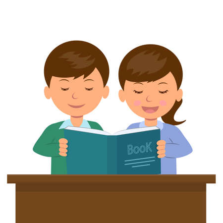 cartoon kids: Kids boy and girl sitting at the desk reading a book. Sister reads the book aloud to his younger brother. Students at the lesson.
