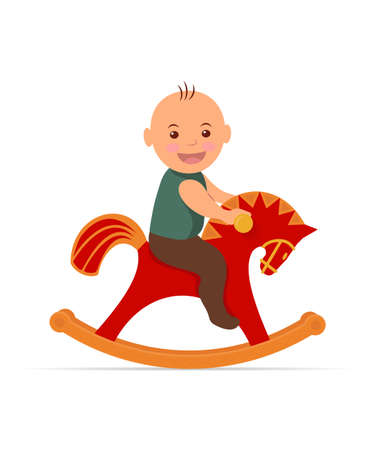 rocking horse: Kid swinging on a rocking horse. Little boy sitting on a rocking horse and cheerfully laughs.