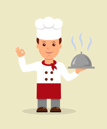professional chef: Young professional chef. A cartoon happy chef character holding a platter and giving an okay or perfect chef gesture. Illustration