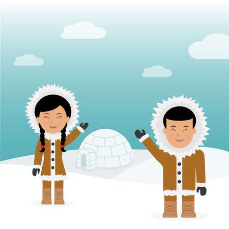 esquimales: Esquimales de ambos sexos y de carácter. Fondo del concepto de viaje a Groenlandia. Esquimales Saludo cómodo casa cerca de iglú. Vectores
