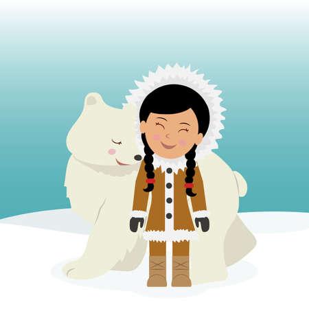 esquimales: chica esquimal que abraza el oso polar. La amistad entre los esquimales y el oso polar. Fondo del concepto de viaje a Groenlandia.