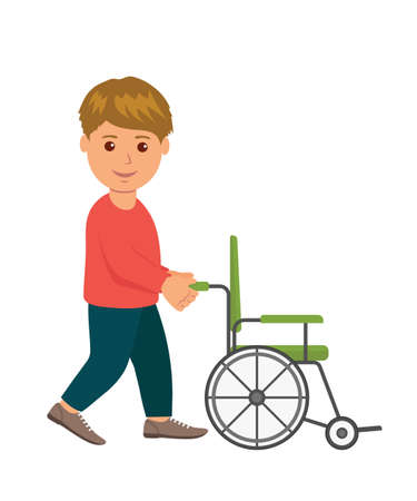 Man volunteer. Concept help invalids. Male pushes wheelchair. Illustration