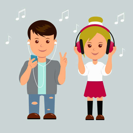 active listening: New generation. Boy and girl in headphones. Isolated teens music lovers. Illustration
