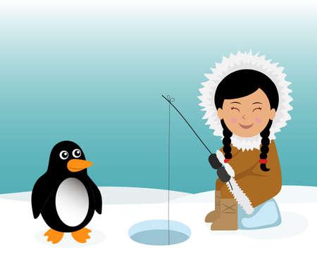 esquimales: Esquimales y la pesca pingüino para los peces. Fondo del concepto de viaje a Groenlandia.
