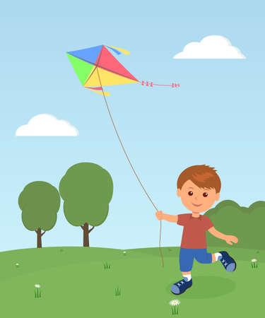 recreation: Cheerful boy enjoying flying kite.  Outdoor recreation.