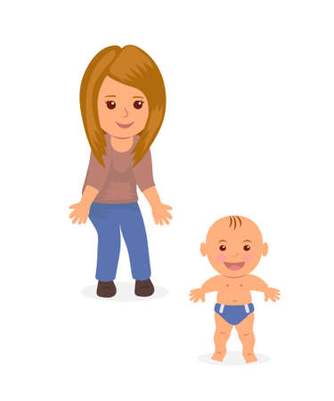 Young mom helps his baby to make the first steps. Child learning to walk. Concept design, isolated characters mother and baby.
