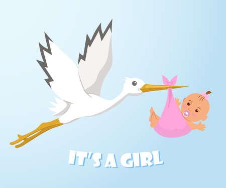 Stork et le bébé. Stork porte un bébé dans une couche. C'est une fille.