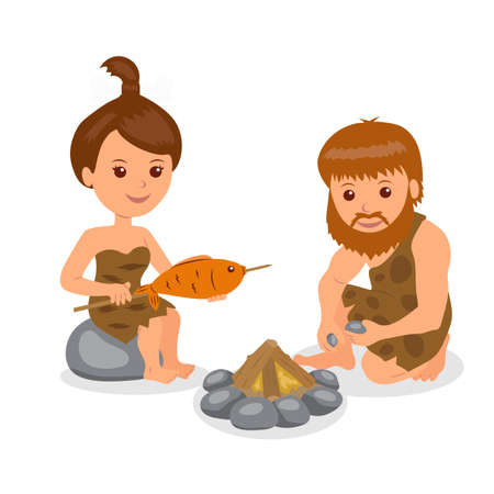 neanderthal women: Caveman. Male kindles fire. Female cook the fish on the fire. Isolated character prehistoric people on a white background in the flat style. Illustration