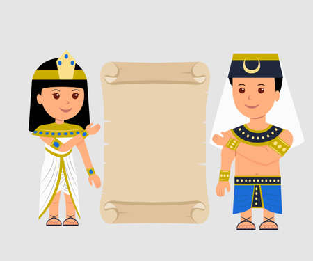 Egyptian man and a woman holding a papyrus. Isolated Egyptian papyrus and characters on a light background. Illustration