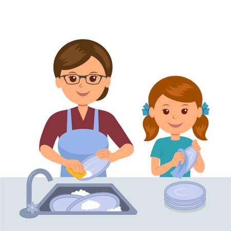 Mãe e filha lavando os pratos. Conceito de trabalho conjunto de mães e filhas. Filha ajuda mãe a limpar a cozinha. Ilustración de vector