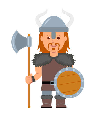 ax man: Viking. A man in a costume with a Viking ax and shield in hand. Isolated viking character on a white background in a flat style.