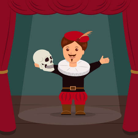 shakespeare: Actor on scene of the theater, playing a role Hamlet. Concept World Theatre Day. Illustration