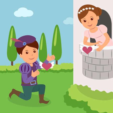 Theatrale voorstelling van Romeo en Julia. Concept Wereld Theatre Day. Stock Illustratie