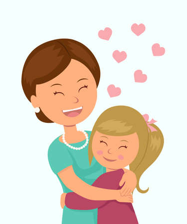 hugging: Daughter hugging her mother. Isolated characters in the embrace of a mother and her daughter on a white background. Concept design Mothers Day.