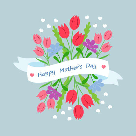 concept day: Spring floral bouquet with ribbon and congratulation in flat style. Concept design template greeting card Mothers Day. Illustration