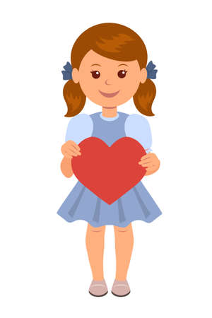 cornrows: Cute girl in a blue dress holding a red paper heart. Concept design of a female character with a red heart in his hands. Illustration